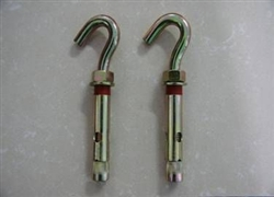 Sleeve anchor hook bolt with plastic ring