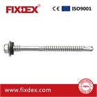 Flang Hex Head Self Drilling Screw with rubber washer, white zinc plated