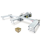 automatic box conveying and strapping machine