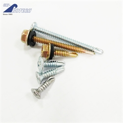 Yellow zinc plated self drilling screws with EPDM washer