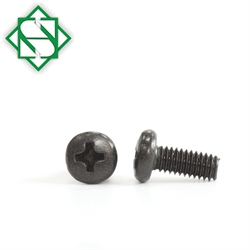 M3.5 X 10 Phillips Drive Binding Head Machine Screw with Black Oxide and Wax