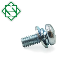 Carbon Steel Pan Head Combination Screw With Flat Washer and Spring Washer