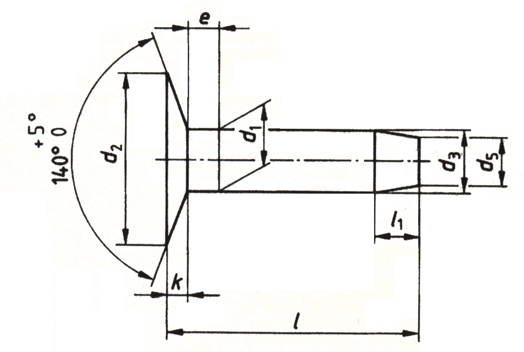 DIN 675 - Flat countersunk head rivets with nominal diameters from 3